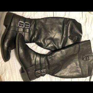 Black wide calf boots
